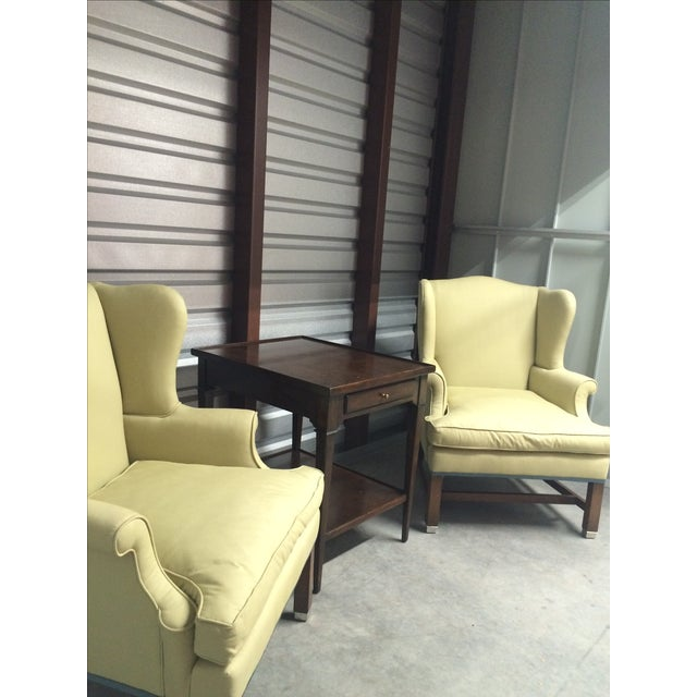Vintage Pale Green Wing Chairs - A Pair - Image 3 of 4