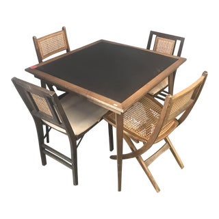 Stakmore Mid-Century Game Table & 4 Chairs