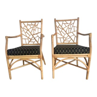 McGuire Lattice Bamboo Arm Chairs - a Pair