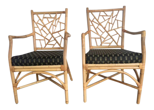McGuire Lattice Bamboo Arm Chairs   A Pair