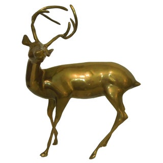 1970s Large Brass Deer Sculpture