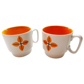 Orange & White Stackable Cups - Pair