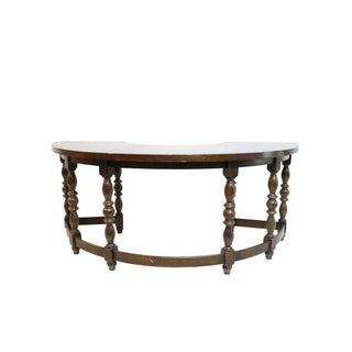 Oak Wood Half Moon Desk