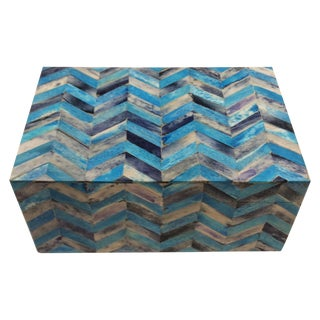 Large Blue Bone Chevron Pattern Box