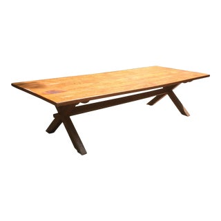 Huge Tiger Maple Trestle Table