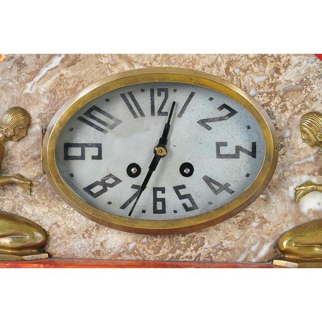Art Deco Vintage Marble & Bronze Clock C.1930 - Image 4 of 9