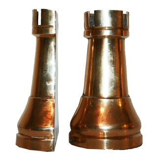 Vintage Brass Rook Bookends - A Pair