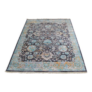 Transitional Blue & Yellow Rug - 5′3″ × 7′7″