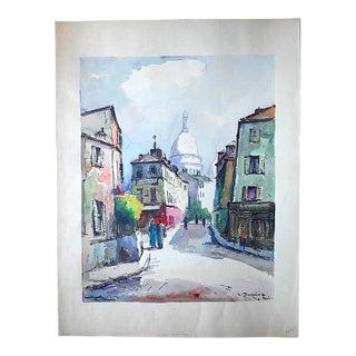Original Vintage Signed Painting, Montmartre in Paris