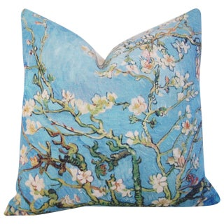 """Chic Van Gogh Inspired Cherry Blossom Linen Feather/Down Accent Pillow 17"""""""