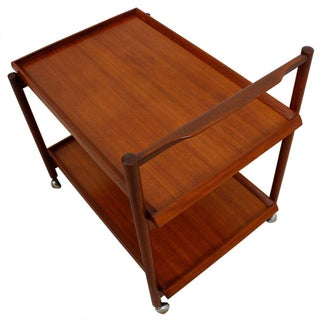 Teak Danish Rolling Bar Serving Cart