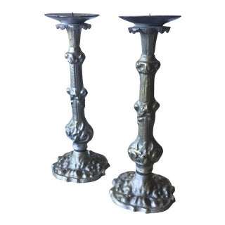 Cast Silver Candle Holders - A Pair