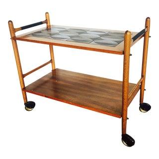 Mid Century Walnut Bar Cart with Stoneware Tile Top