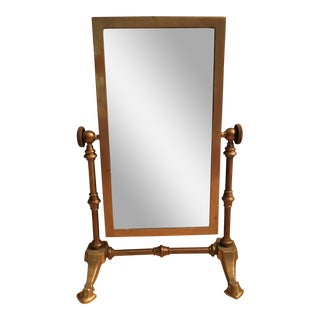 Antique Brass Table Mirror