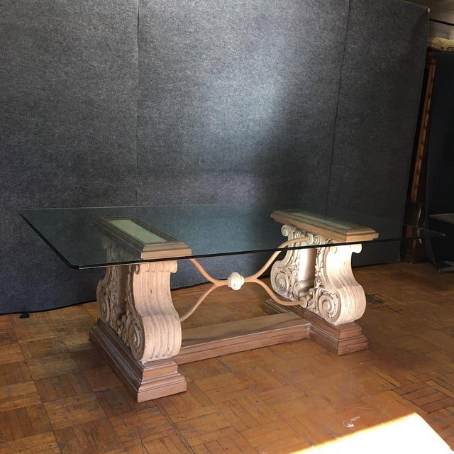 Double pedestal stone base dining table w beveled glass for 52 glass table top