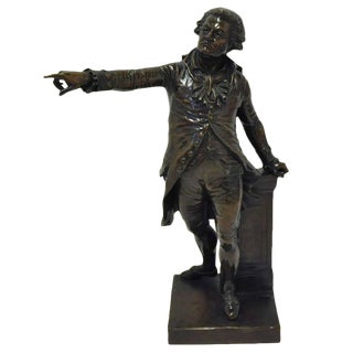 1857 French Bronze Sculpture of Mirabeau by F. Truphene Dated