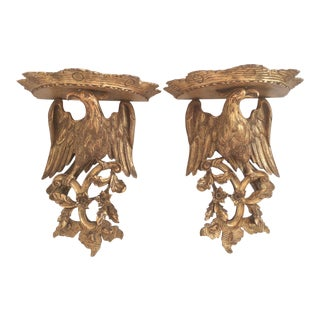Chippendale Style Wood Wall Sconces - a Pair