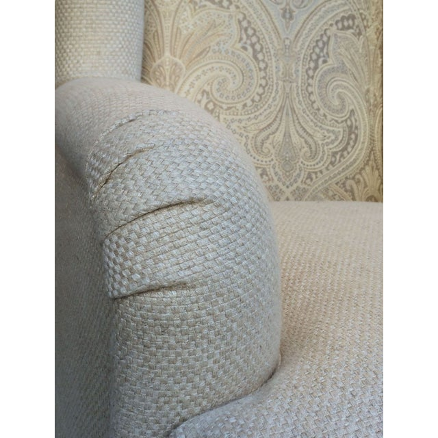 Image of New Custom Upholstered Silk & Linen Wing Chairs