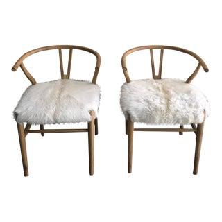 Hans Wegner Style Faux Fur Wishbone Chairs - A Pair