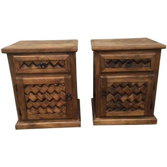 Patterned Wooden Nightstands - A Pair - Image 1 of 5