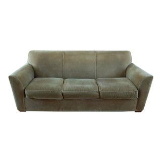 Crate & Barrel Olive Green Velvet Sofa Couch