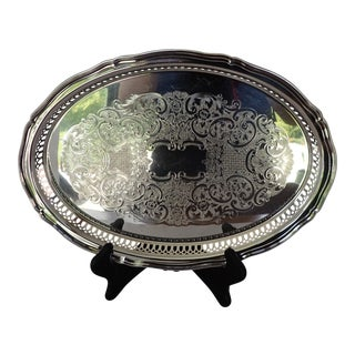 Elegant Silver Plate Oval Tray