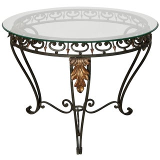 Italian Glass Iron & Gilt Metal Table
