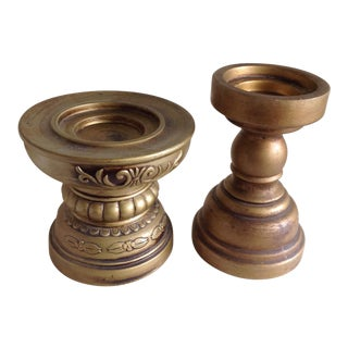 Mid-Century Japanese Gold Ceramic Candleholders - A Pair
