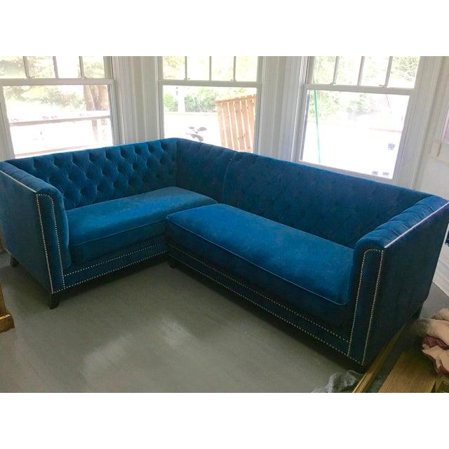 Blue Velvet Pasargard Victorian Sectional - Image 2 of 5