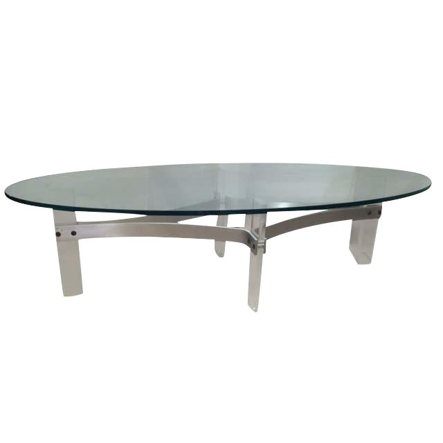 Vintage Lucite Oval Coffee Table