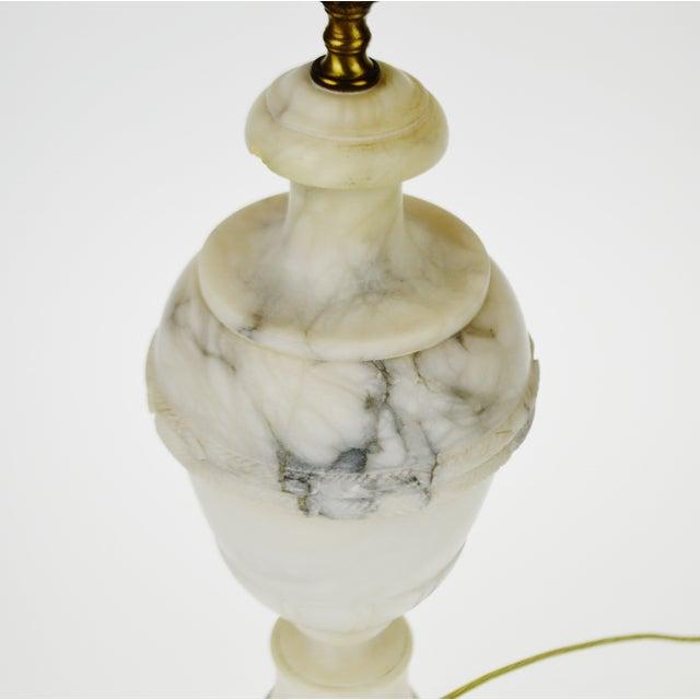 Image of Vintage Carved Alabaster Table Lamp