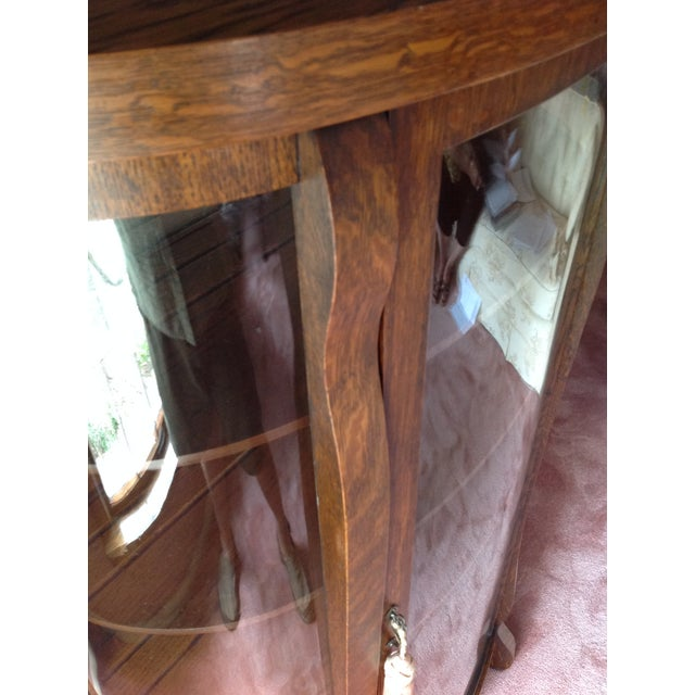 Antique Tiger Oak Curved-Glass China Cabinet - Image 8 of 9