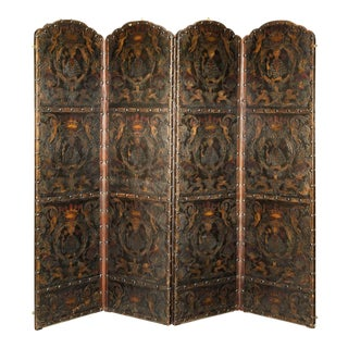 19th Century Leather Embossed Screen