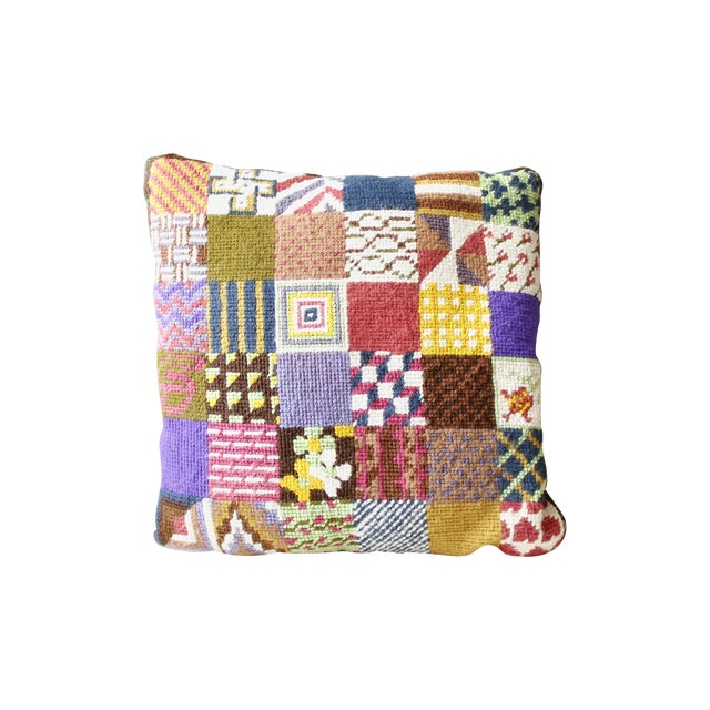 Image of Vintage Patchwork Needlepoint Pillow Flowers