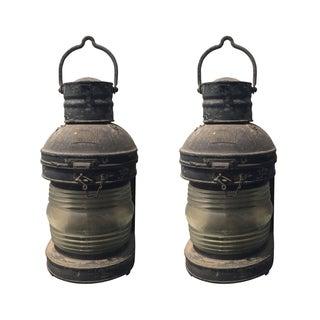 Antique Nautical Ship Lanterns - A Pair