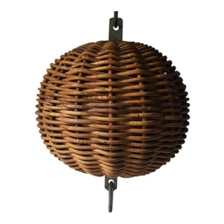 Vintage Wicker Rattan Large Round Boat Buoy