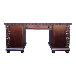 Antique Dutch Oak Executive Style Desk