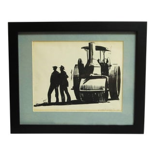 "Vance T. Locke Jr. Wpa Style ""Road Workers"" Ink Sketch"