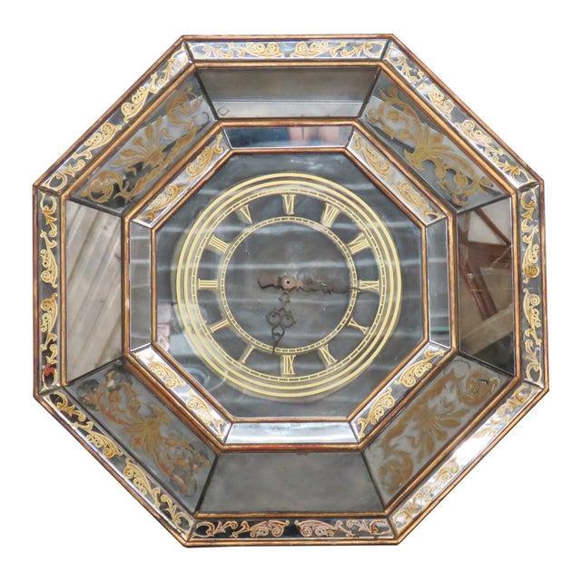 Eglomised Mirrored Hanging Clock - Image 1 of 9