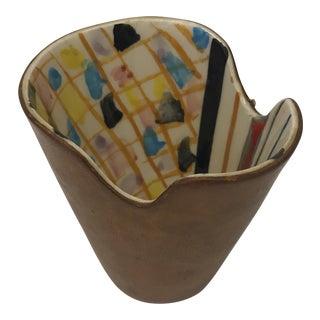 Italian Leather & Ceramic Glass Vessel