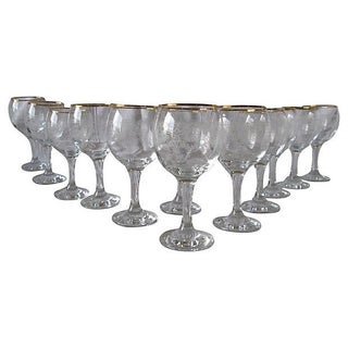 Gold-Rimmed Garland Wineglasses S/12