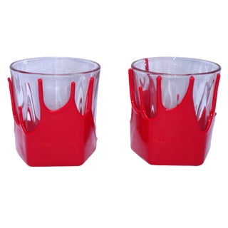 Maker's Mark Red Wax Rocks Glasses - A Pair