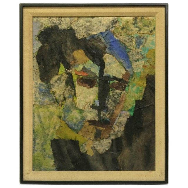 Expressionist Female Portrait Collage Painting - Image 1 of 4