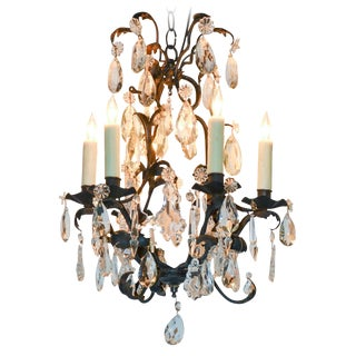 Petite French Iron & Crystal Chandelier