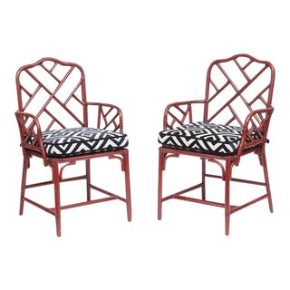 Vintage Bamboo Chinese Chippendale Chairs - A Pair
