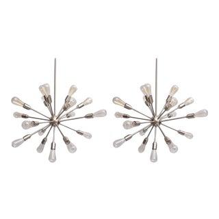 Pair of Chrome Sputnik Chandeliers, 1970s, USA