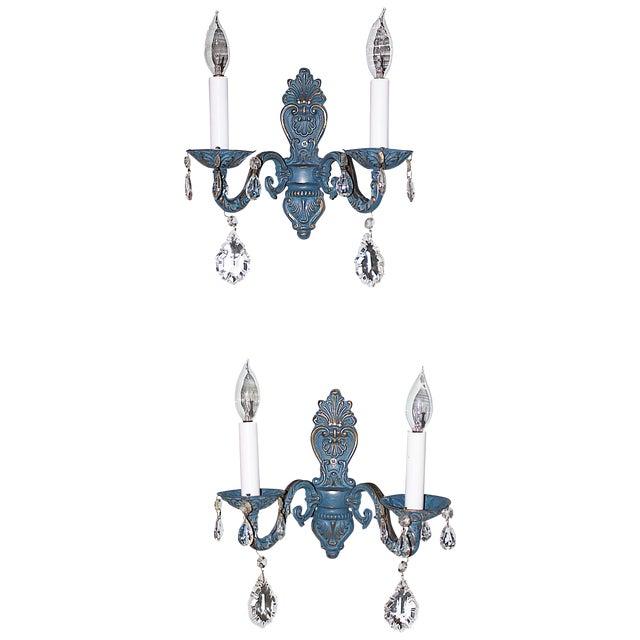 Blue Brass Sconces - Pair - Image 1 of 6