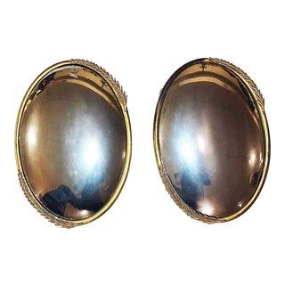 Convex Brass Mirrors - A Pair
