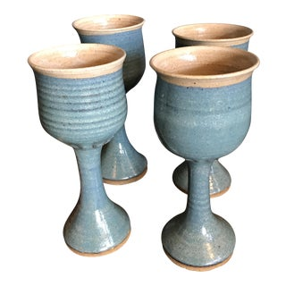 Art Pottery Turquoise Stoneware Goblets- Set of 4