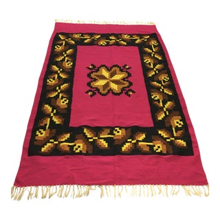 "Fuchsia Tribal Serape Rug Throw - 4'2"" x 5'5"""